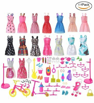 120 Pcs Doll Clothes Party Gown Outfits And Accessories Barbie Girl Xmas Gift