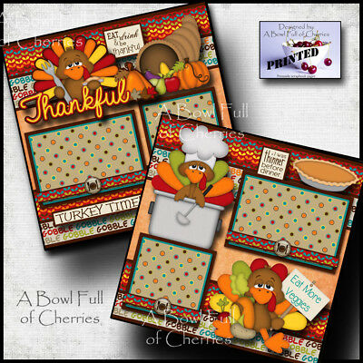 THANKSGIVING  2 premade scrapbook pages paper printed layout family BY CHERRY