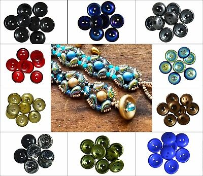 CHOOSE COLOR 4pcs 14mm 2-hole Cup Button Beads Czech Pressed Glass
