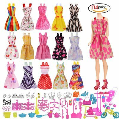 114 Pcs Barbie Doll Clothes Party Gown Outfits And Accessories Party Dresses