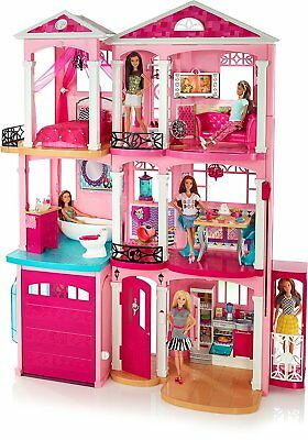 Barbie Dreamhouse Girls Dream Toy Doll Dolls House Three floors Seven Rooms Pink