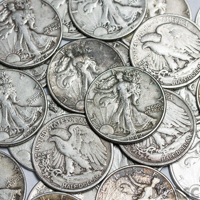 Walking Liberty Half Dollars , 90% Silver Coin Lot , Circulated, Choose How Many