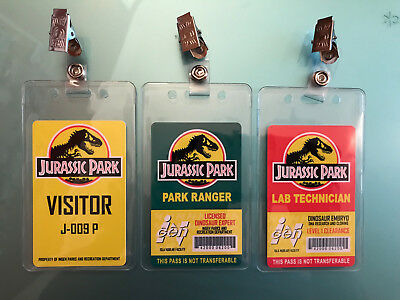 3x Jurassic Park Set Prop ID Badge Lab Technician - Visitor Pass - Park Ranger
