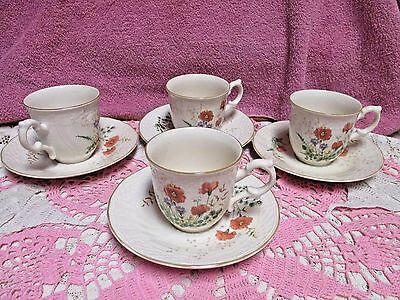 Mikasa Fine Ivory Margaux D1006 4 Cup and Saucer Sets Pristine Japan