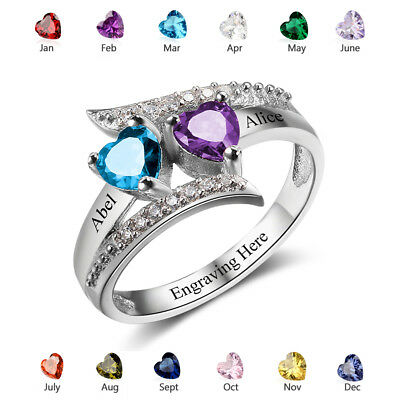 Personalized Family Ring Birthstone Name Ring Mothers Day Gift Idea US Shipping