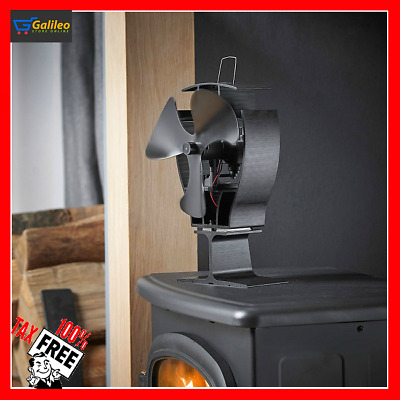 Heat Powered Stove Fan Wood Stove Fans 360 CFM 3 Blade Aluminium Silent Eco-