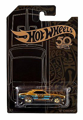 Hot Wheels 2018 50th Anniversary Black - Gold Series 67 Camaro Chase 164 Scale