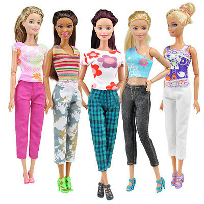Lot 10pcs5 Blouse-5 Trousers Fashion Casual Clothes Outfits For Barbie Doll Bra