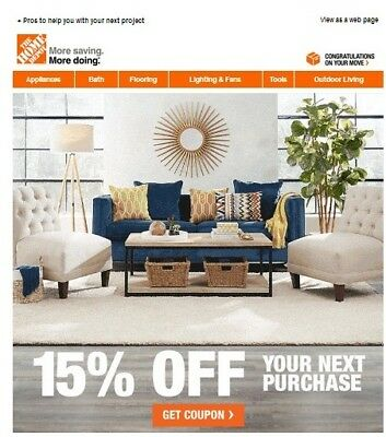 One 1x Home Depot 15 Off-Coupon Save upto 200 In-Store Only-