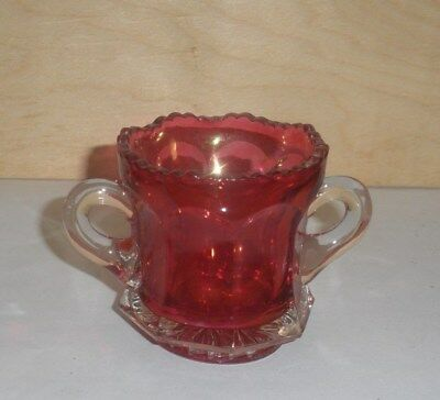 Antique Toothpick Holder - Colonial-Type w Handles    Maidens Blush Ruby Stained