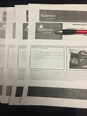 100 Applebees Paper Gift Card IN STORE ONLY