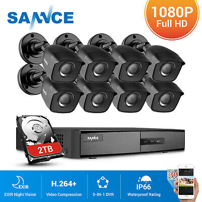 SANNCE 4CH  8CH 1080P HDMI DVR 1500TVL CCTV Security Camera System Night Vision