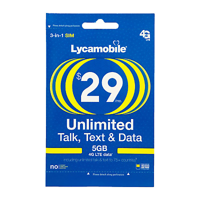 Lycamobile 29 Plan Preloaded SIM Card free 1Month 5GB  Data Unlimited Talk Text