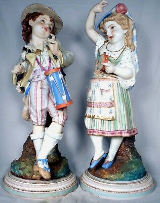 French Bisque Parian Figures Musicians Drummer Tambourine Lemaire 19 Boy Girl