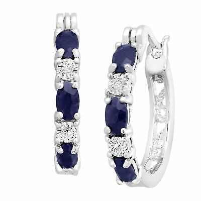 2 110 ct Natural Sapphire Hoop Earrings with Diamonds in Platinum-Plated Brass