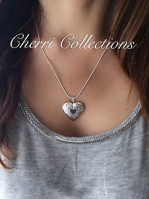 Heart Locket Photo Pendant Necklace 925 Sterling Silver 18 Mother's Day Gift