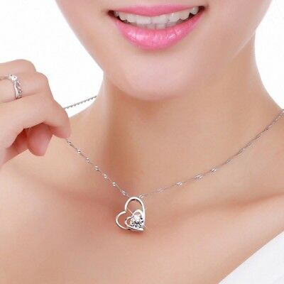 925 Sterling Silver Plated Double Heart Cubic CZ Pendant Necklace Mother's Day