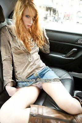 Amateur Redhead Model Panties Jeans Skirt Up Legs Opened Boots 4x6 Glossy Photo