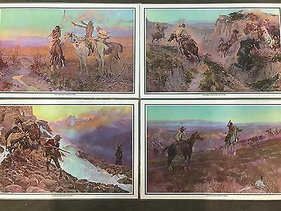 4 Charles M- Russell Prints Placemats Western Cowboys And native americans