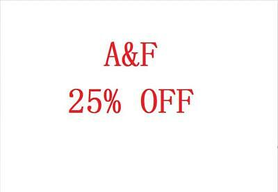 AF A-F Abercrombie - Fitch 25 OFF Discount Promo Code SALE - CLEARANCE