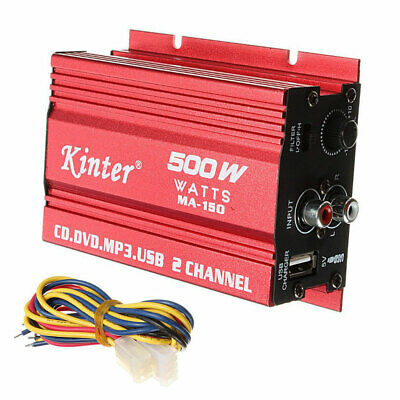 Kinter MA150 RMS 500W Car Motorcycle 2CH 2 Channel Audio AMP Amplifier Subwoofer