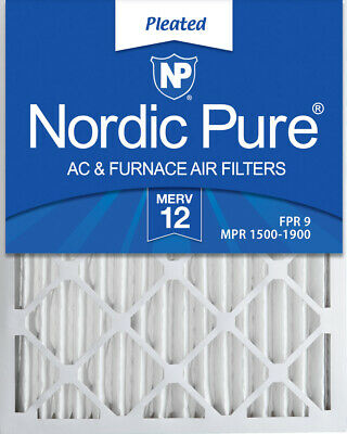Nordic Pure 20x24x2 Pleated MERV 12 Air Filters 3 Pack