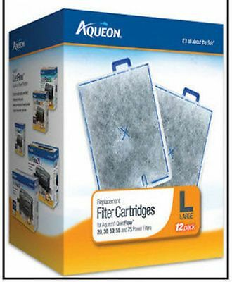 AQUEON LARGE 12 Pack FILTER CARTRIDGE FOR QUIET FLOW 20-3055 - 75 FILTERS- 12PK
