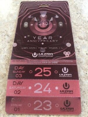 Ultra Music Festival 2018 MIAMI ONLY ONE 1 DAY TICKET SATURDAY 24TH