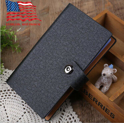 Black Business Card Holder Book PU Leather 240 Name Cards Organizer with  buckle