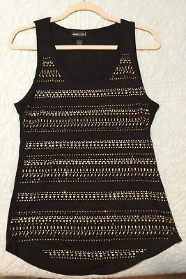 Wet Seal Black Tank Top with Metallic Accents on Front Size Womens L