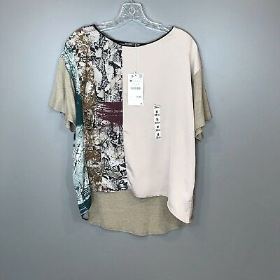 Zara Collection Blouse Top Womens Beige Mixed Media Snakeskin Print Size M NEW