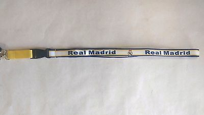REAL MADRID LANYARD NYLON KEY CHAIN WHITE SOCCER FUTBOL
