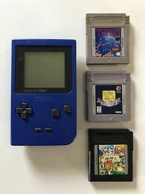 Nintendo Gameboy Pocket Ice Blue Handheld System Bundle