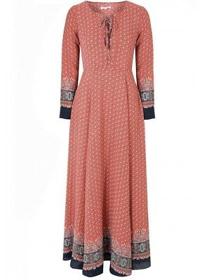 NWT Glamorous Kate Middleton XS Red - Navy Patterned Maxi Dress worn in India