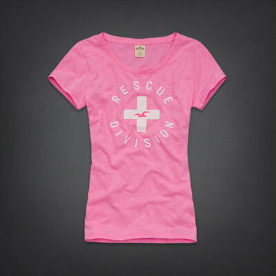 Hollister Co- Womens Pink Abalone Cove T-Shirt Graphic Design Tee Large L