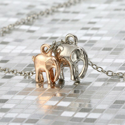 Lucky Elephant Mom and Baby Necklace Pendant Chain Animal Jewelry Mothers Day
