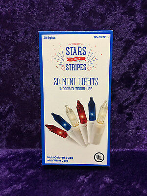 Red White - Blue Patriotic 4th Of July Mini Lights 20 Bulbs