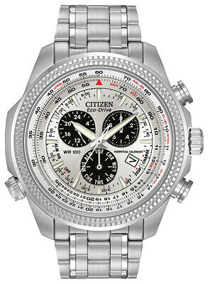 Citizen Eco-Drive Mens Chronograph Alarm Silver-Tone 48mm Watch BL5400-52A