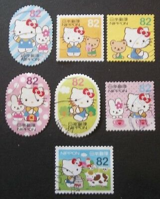 JAPAN USED 2015 HELLO KITTY 82 YEN 7 VALUE VF COMPLETE SET SC 3895 a - g