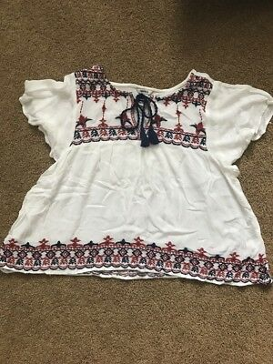 Forever 21 Burgundy And Navy Embroidered Top  - Size Small