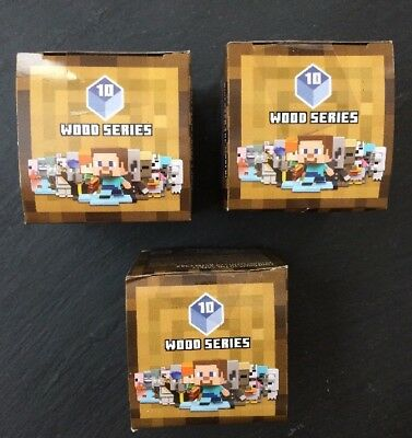 Minecraft Mini Figure Blind Box Wood Series 10 Lot Of 3
