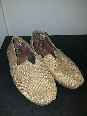 TOMS Natural Burlap  Slip-On Casual Flats Size 9-5 Shoes