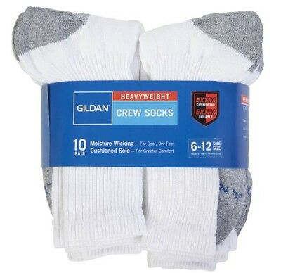 Gildan Heavyweight 10 PAIR Crew Socks Extra Cushioning Moisture Wicking 6-12