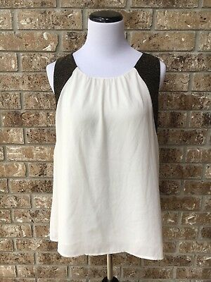 FOREVER 21 White Sheer Sleeveless Blouse with BlackGold Shimmer Sides Size SM