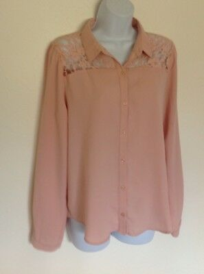 Pretty Mauve long Sleeve Lace Button Blouse L XL Sheer Poly womens forever 21
