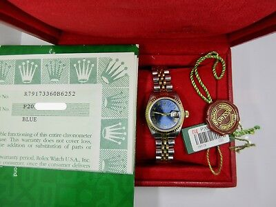 Rolex DateJust 79173 Blue Roman Dial 18k Gold - SS Jubilee P Serial Box - Papers