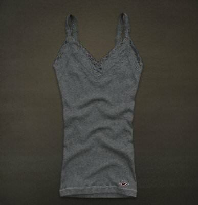 Hollister Co- Womens Vintage Fletcher Cove Tank Top T-Shirt Graphic Tee Grey Med