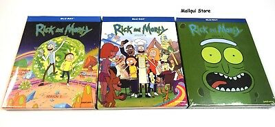 RICK AND MORTY SEASONS  ONE TWO and THREE 1 2 - 3 Blu-Ray Bundle - New