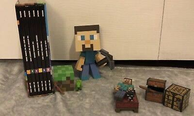 Minecraft toy figurine with minecraft furniture and 6 book sold as set