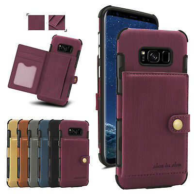 Leather Wallet Pull Out Card Holder Money Slot -Photo Case Cover For Samsung S9-